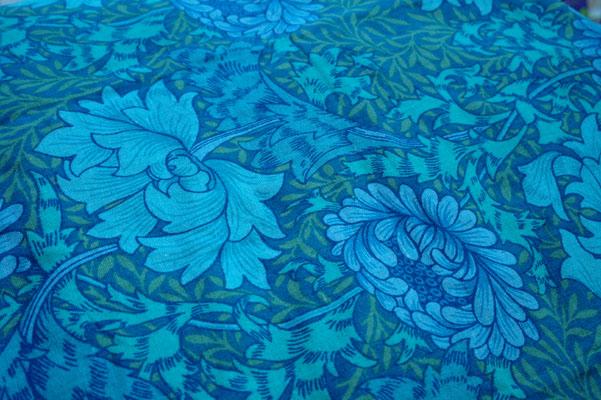 William Morris print fabric, Chrysanthemum, Blue