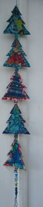 Christmas tree hanging, recycled fabric christmas decoration