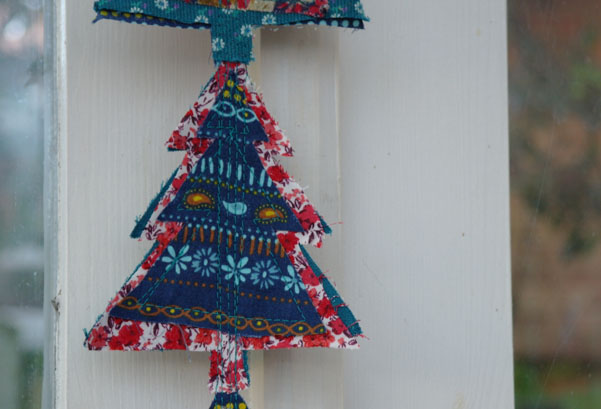 Close up of recycled fabric christmas decoration.