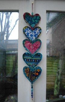 Heart motif wall hanging, Recycled fabric