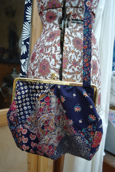 Finished refashioned vintage bag. Liberty print. Blue, red and purple patterened fabric.