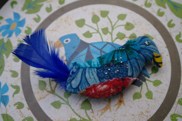 Finished bluebird of happiness pin cushion.