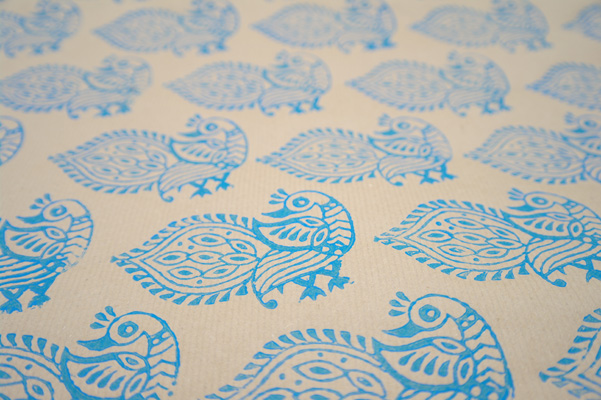 Peacock block print, printed onto parcel paper.