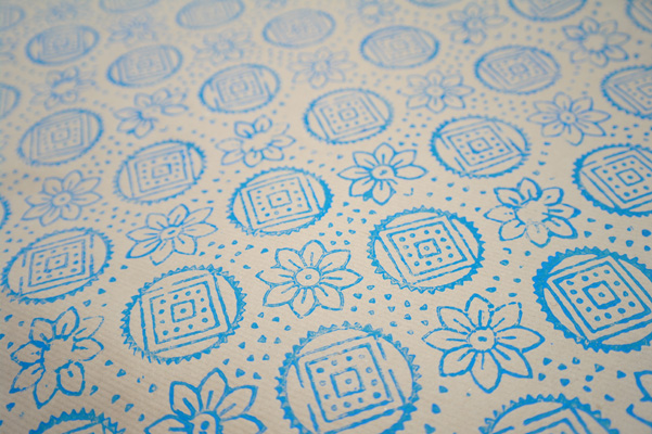 Indian wooden block print, printed onto parcel paper.