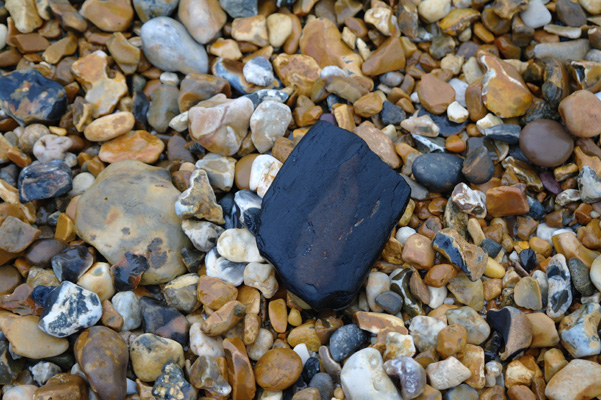 Pebble on the beach at Hengistbury Head, Dorset, England.