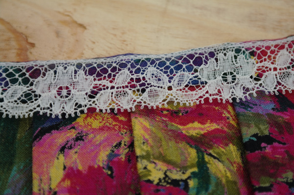 Close up of vintage lace trim.