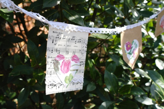 Old sheet music and recycled paper heart bunting.