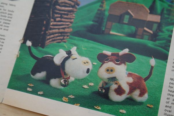 Vintage sewing pattern for little cow toys.