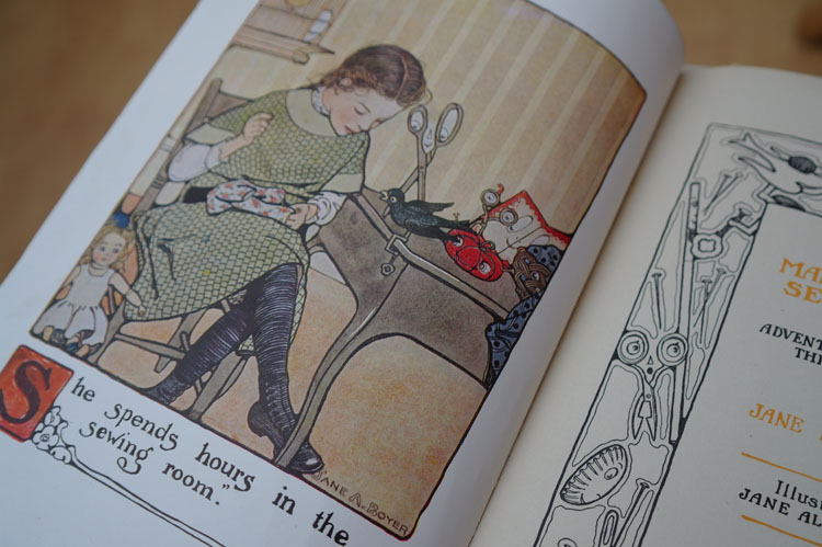 Vintage illustration, 1914, from The Mary Frances Sewing Book, by Jane Eayre Fryer.