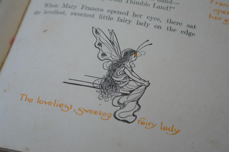 Little vintage sewing book illustration.