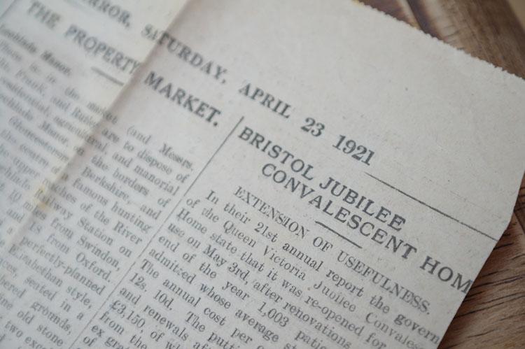 Old newspaper, April 23rd 1921.