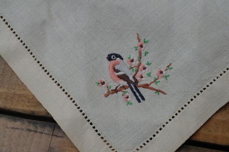 Vintage hand embroidered bird. Vintage linen.