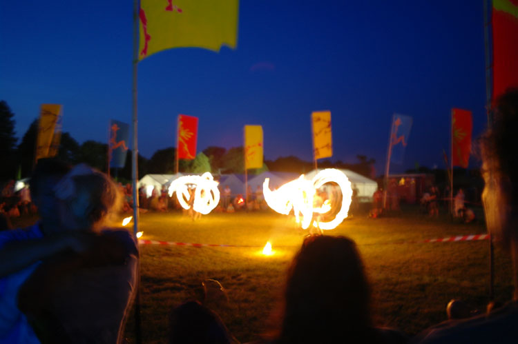 Fire display in the flag circe, Larmer Tree.