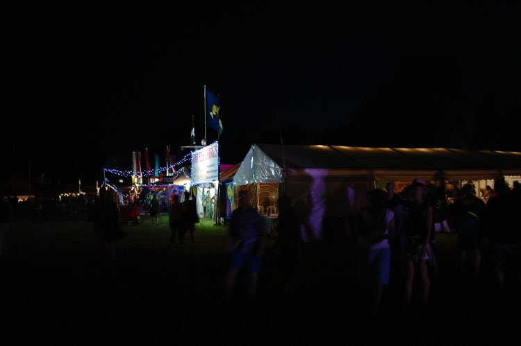 Stalls at night, Larmer Tree.