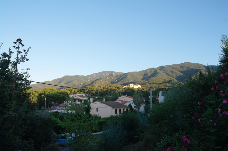 View of the Pyrenees in the evening, in the south of France.