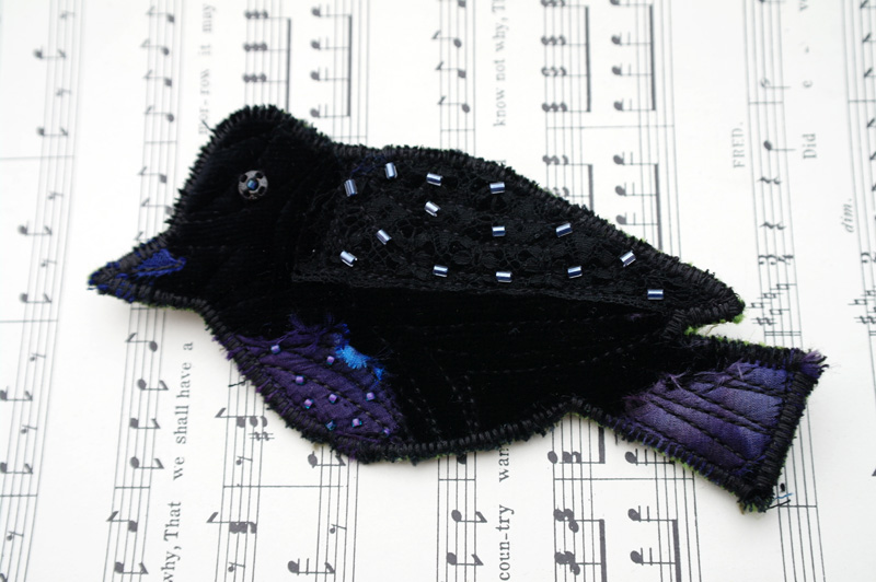 Blackbird Brooch, textile brooch, upcycled, recycled, repurposed.