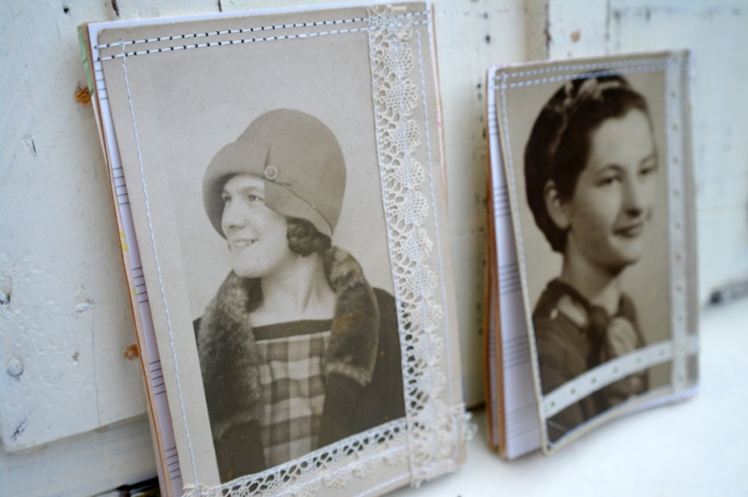 Little notebooks/notepads made with vintage portraits/postcards.