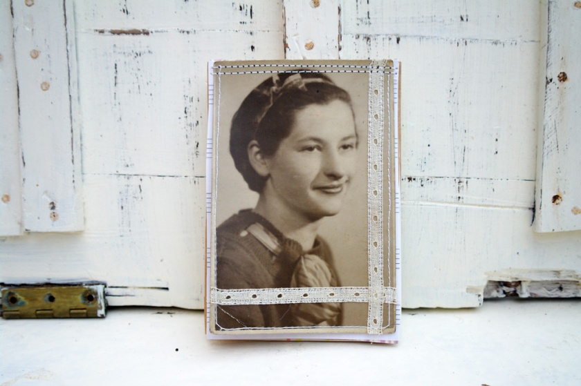 Vintage portrait, upcycled into an eco friendly mini notepad.
