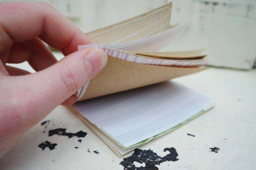 Inside of a notebook made from a vintage postcard.