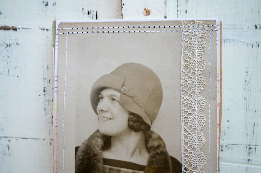 1930s portrait of a women. 1930s fashion. Postcard upcycled into a notebook.