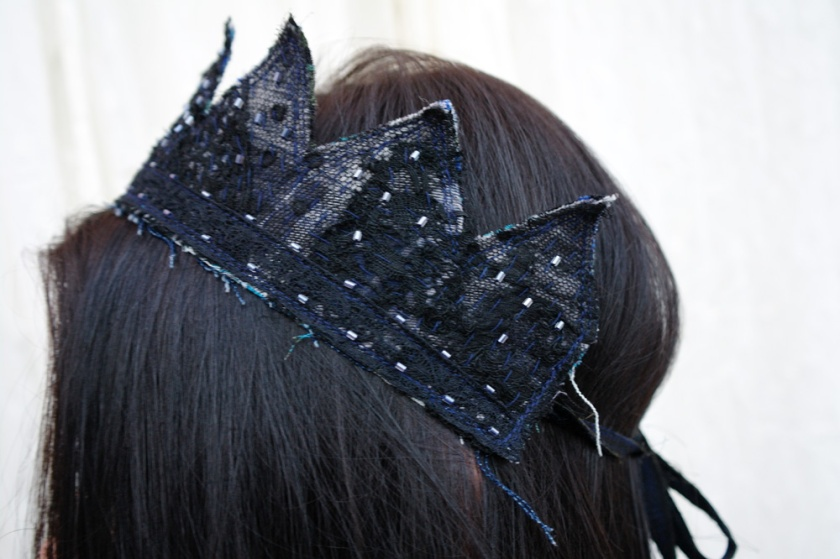 Gothic black lace head crown, made with upcycled vintage black lace.