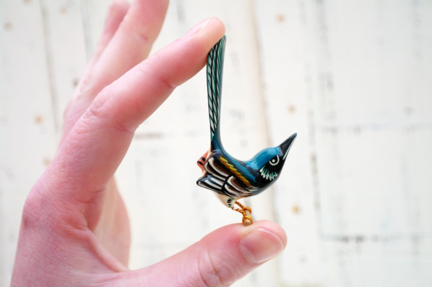 Blue wooden bird brooch. Takahashi style. 1970's reproduction of a takahashi bird brooch.