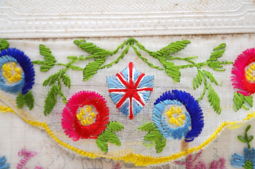 Union Jack detail from a First World War embroidered postcard. British flag.