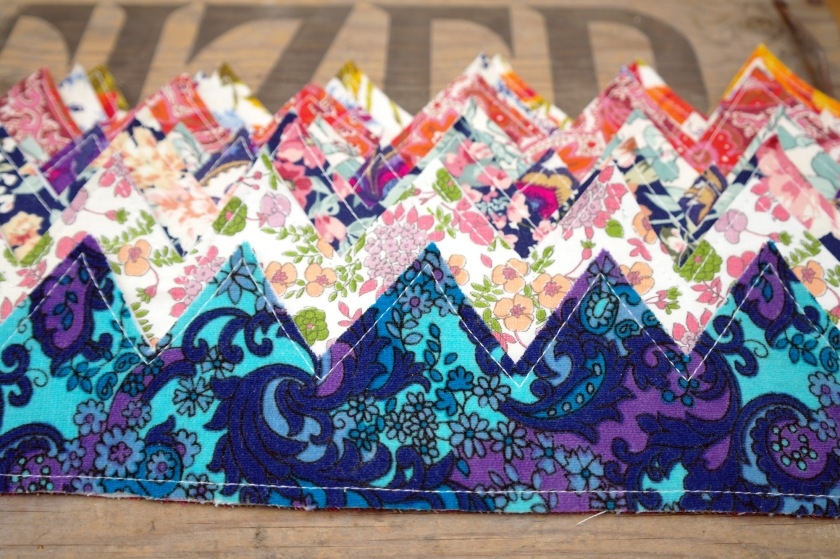 Fabric head crowns, made with vintage retro fabrics. Retro fabric craft idea.
