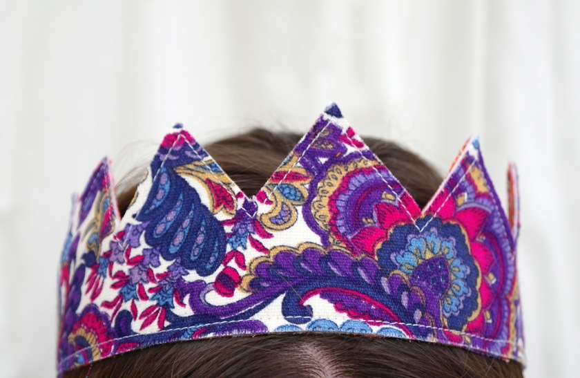Purple, pink, blue, and white paisley 1970s or 1960s retro fabric. Retro fabric crown.