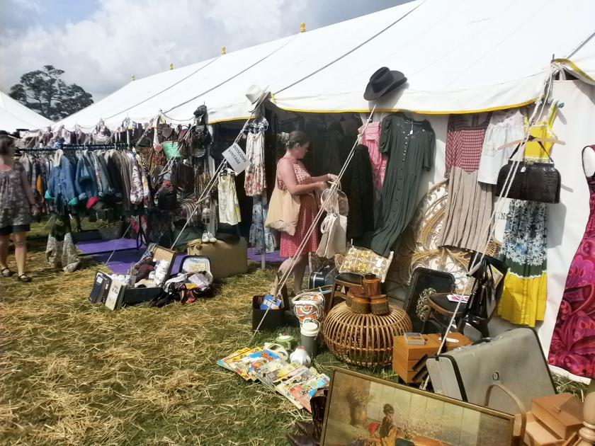 Outside the marquee at the Vintage Nostalgia Show, Wiltshire. Vintage market shopping.