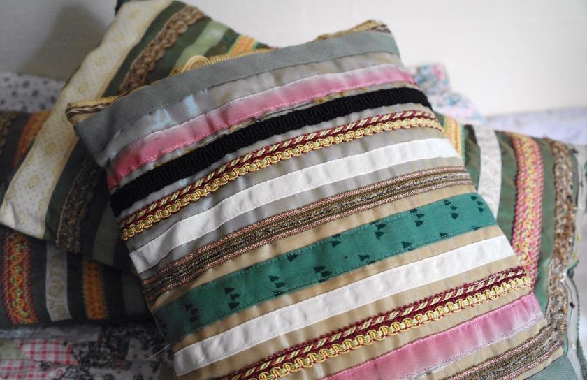 Handmade vintage cushions. Pink, green, gold. Vintage braid and trimmings. Vintage haberdashery.