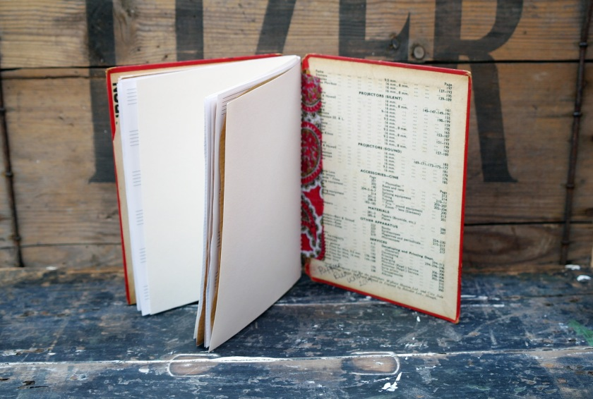 Inside of upcycled notebook. Sketchbook. Journal. Made with recycled materials. Old book cover craft idea.