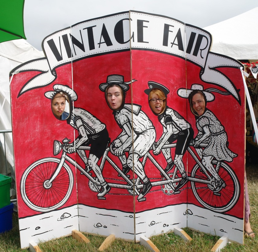 Funny faces outside the vintage tent at Larmer Tree Festival 2014.