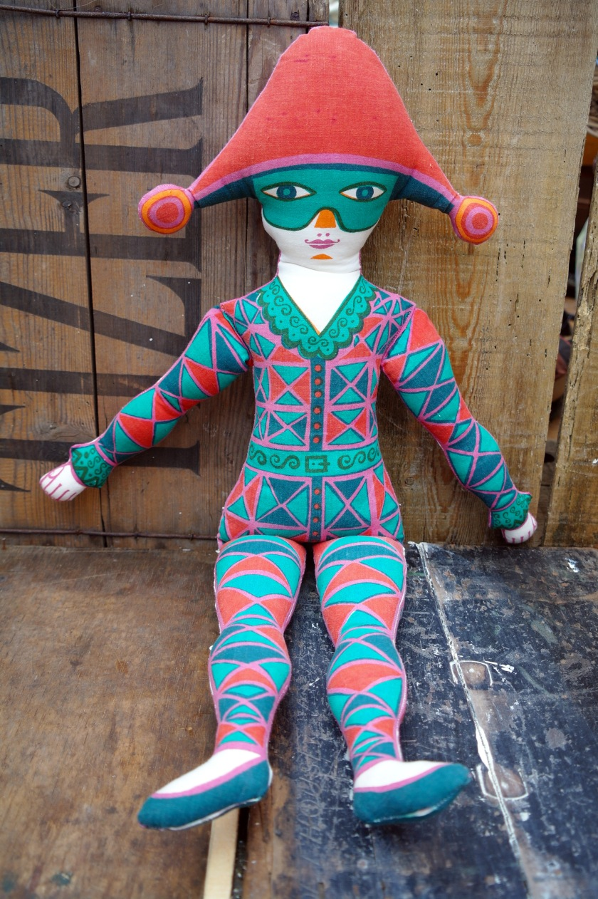 Mended cloth doll. Circus style, harlequin, jester, acrobat doll. Red, green, orange, blue.