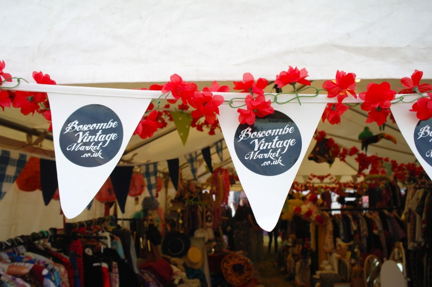 Boscombe Vintage Market bunting outside the Vintage tent at Larmer Tree Festival 2014.