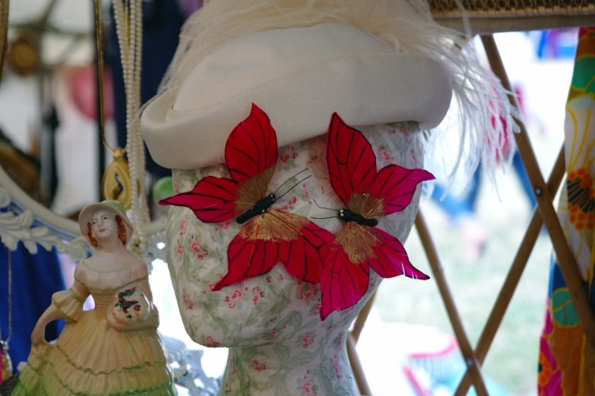 Pink butterfly clips in the vintage tent at Larmer Tree Festival 2014.