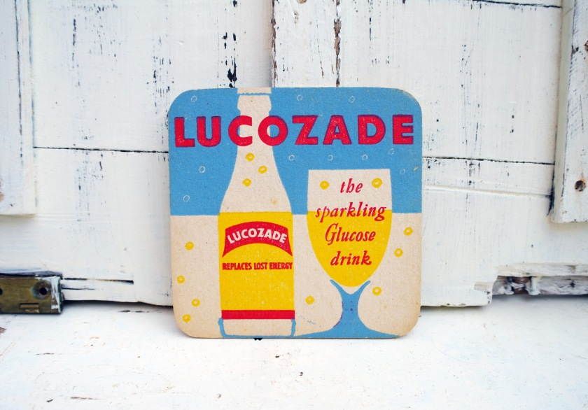 Vintage 1950s lucozade beer mat. Soft drink mat. Fifties. Pop art style.