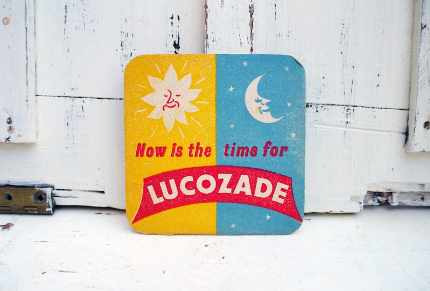 1950s Lucozade beer mat. Vintage soft drinks mat. Pop art style beer mat.