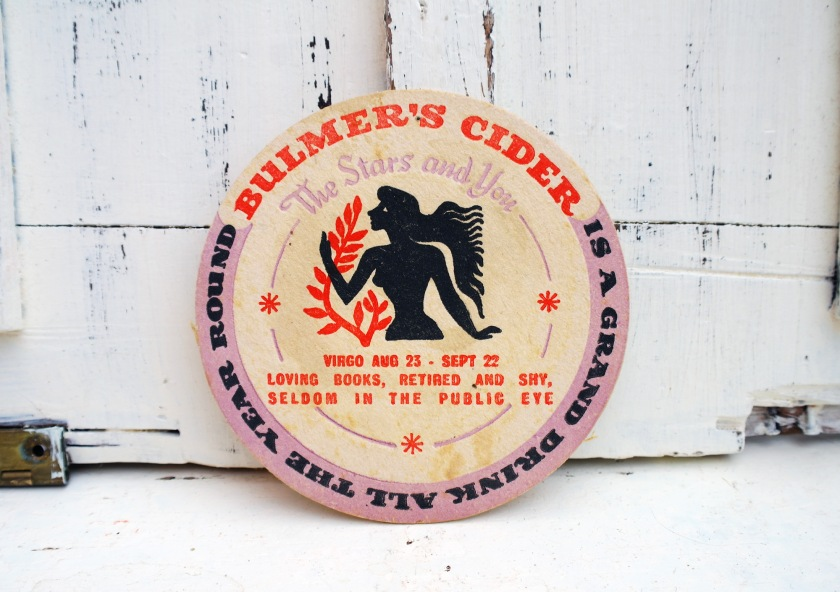 Vintage Bulmer's Cide beer mat, star signs. Virgo star sign beer mat.