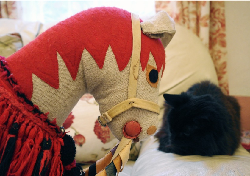 Vintage handmade hobby horse making friends with Tino the cat.