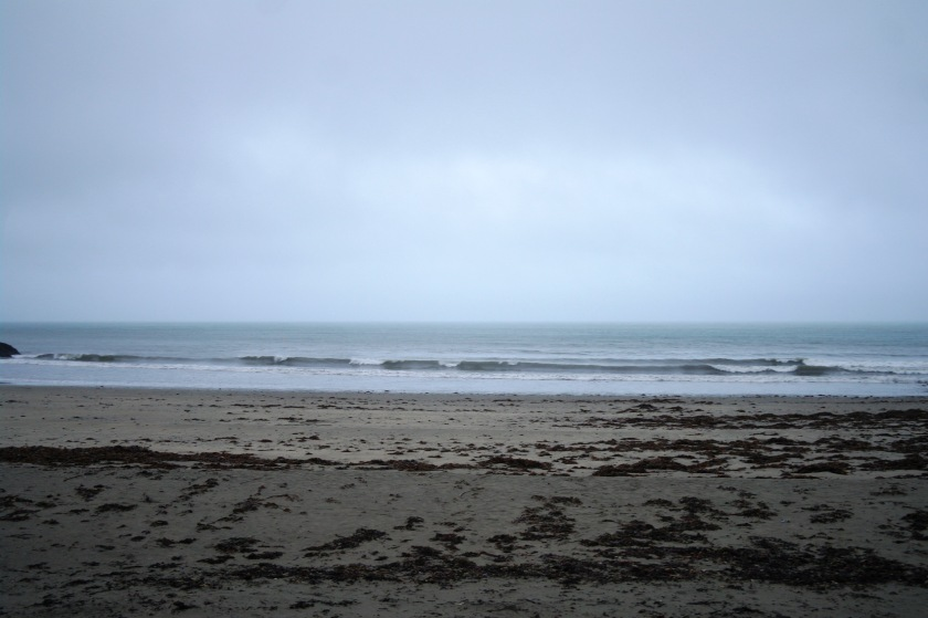 Beach at Looe, Cornwall, in January. Rainy beach.