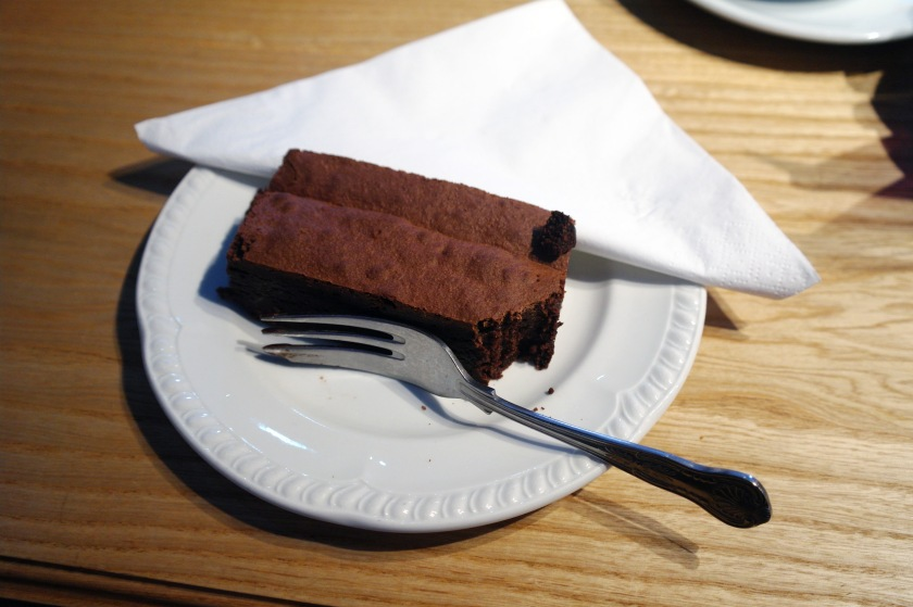 Scrumptious brownie at a cafe in Tintagel