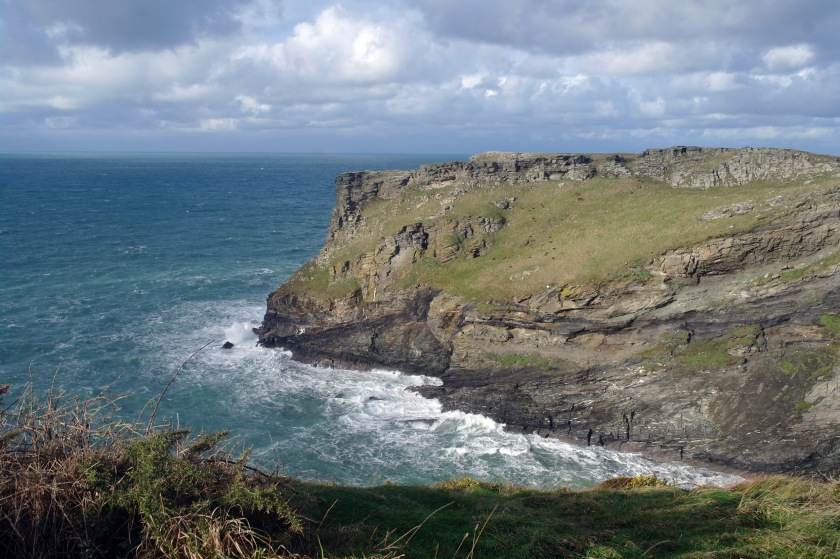 Coastline at Tintagel, Cornwall, UK. Winter walk in January.