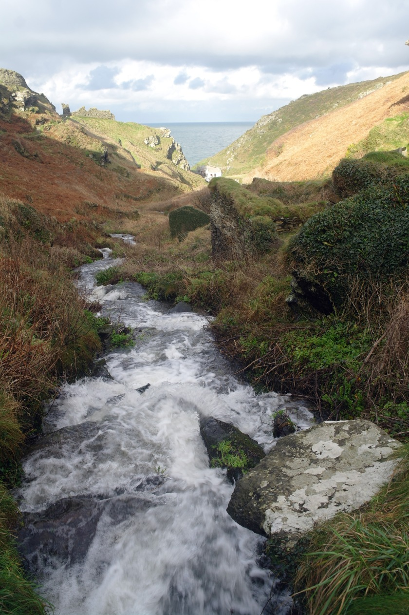 Stream on a walk along the coast at Tintagel, Cornwall, UK.
