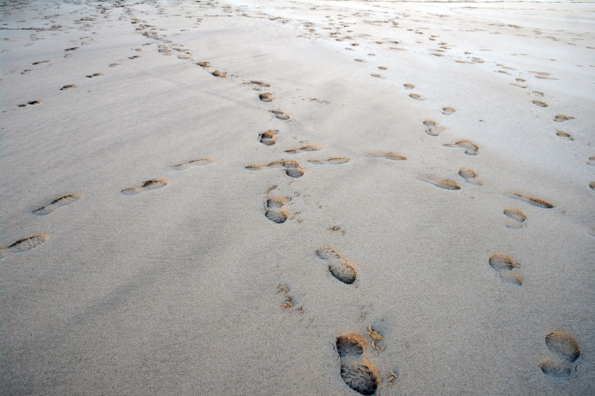 Footprints in the sand, on a beach in Cornwall.