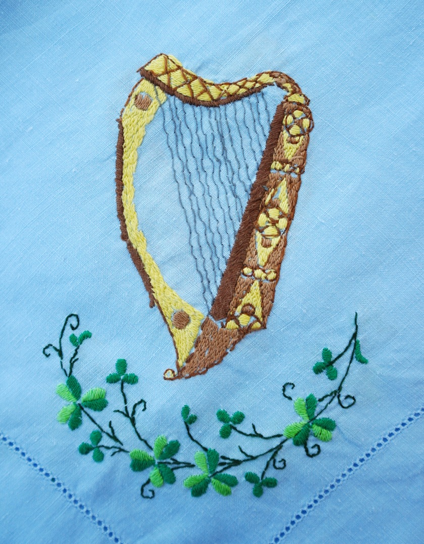 Vintage embroidered harp.