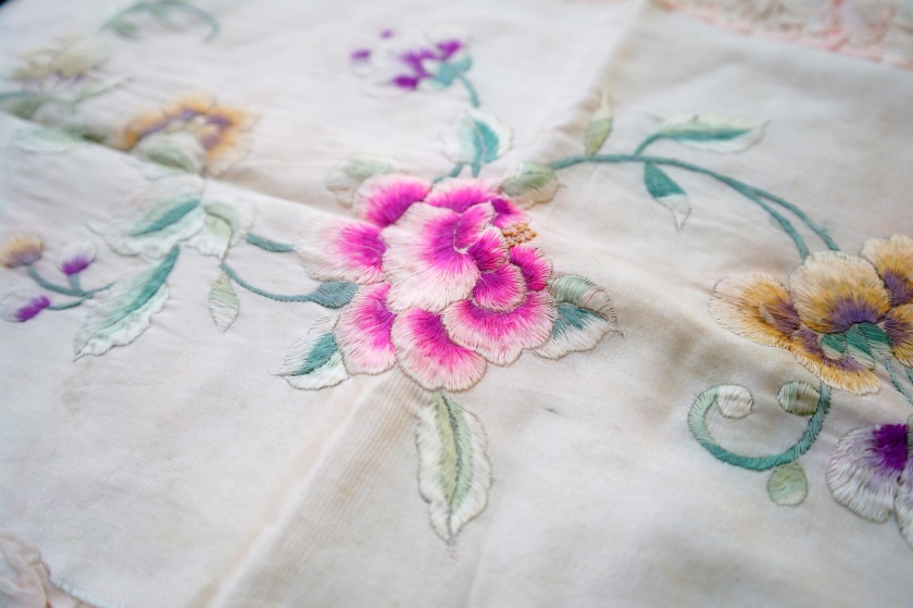 Antique embroidered satin silk pillowcase.