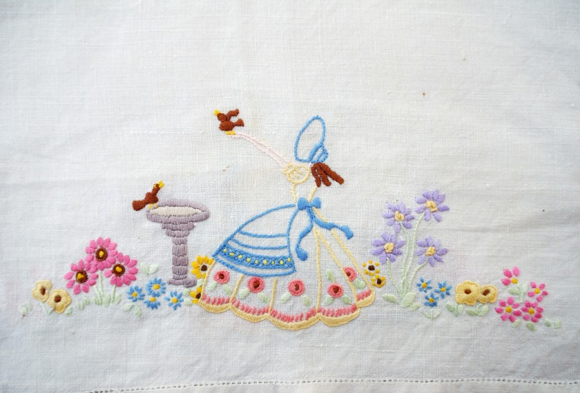 Vintage embroidered linen. Embroidered crinoline lady. 1950s fifties embroidery. Vintage needlework.