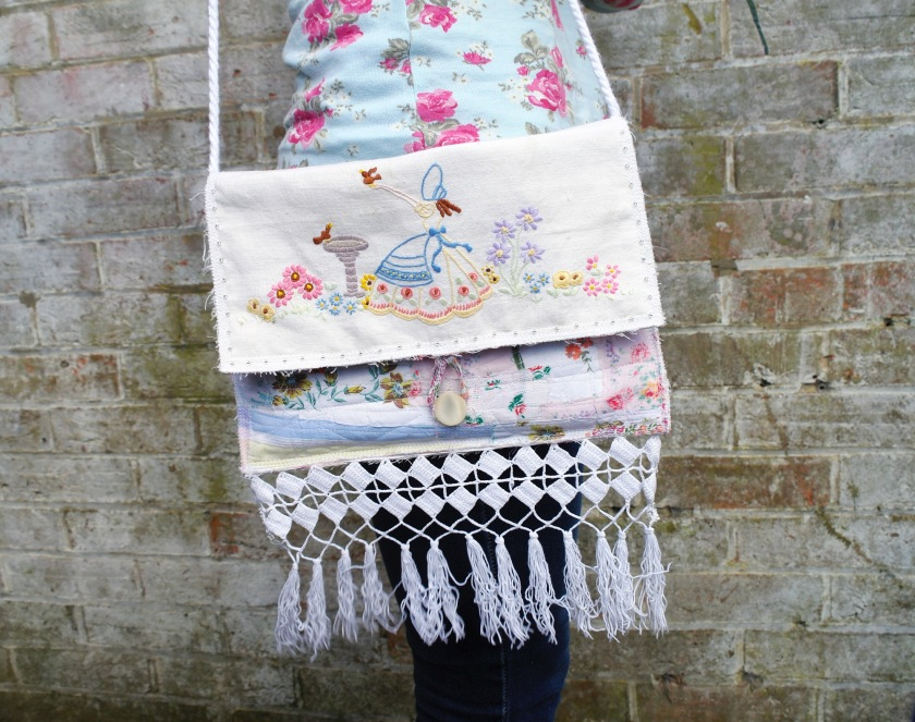 Bag made from vintage embroidery of a crinoline lady. Upcycled vintage embroidery. Upcycled vintage linen. Vintage linen upcycling craft ideas.