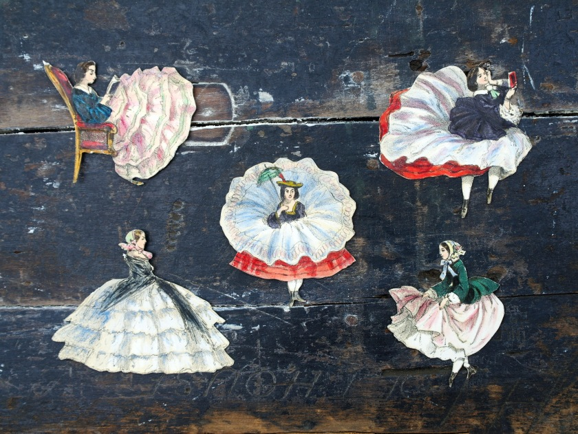 Vintage paper cut out Victorian ladies. Whimsical Victorian costume fashion illustrations. Antique die cuts.